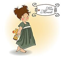 young girl going to bed with her favorite toy, a giraffe Photographic Print