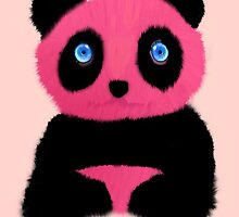 Pink blue-eyed panda by CatchyLittleArt