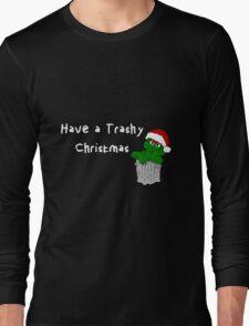 Oscar the Grouch at Christmas (dark) Long Sleeve T-Shirt