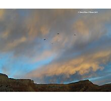 Ghost Ranch Sunset with Turkey Vultures Flocking Photographic Print