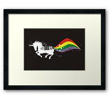 Grunge rocket rainbow unicorn space dust Framed Print