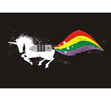 Grunge rocket rainbow unicorn space dust Photographic Print