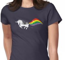 Grunge rocket rainbow unicorn space dust Womens Fitted T-Shirt