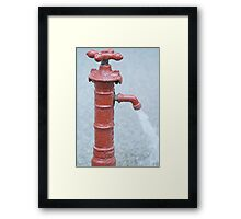 Red Outdoor Water Faucet Framed Print