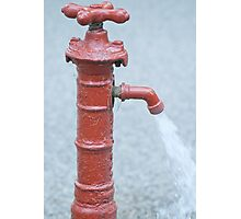 Red Outdoor Water Faucet Photographic Print