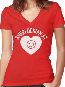 SHERLOCK FAN SHERLOCKIAN AT HEART - WHITE TEXT Women's Fitted V-Neck T-Shirt