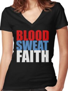 Blood, Sweat, Faith ('Murca) Women's Fitted V-Neck T-Shirt