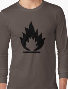 Flammable Warning Sign Long Sleeve T-Shirt