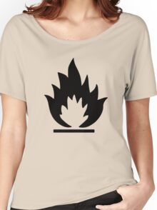 Flammable Warning Sign Women's Relaxed Fit T-Shirt