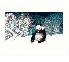 Panda bear in the snow Art Print