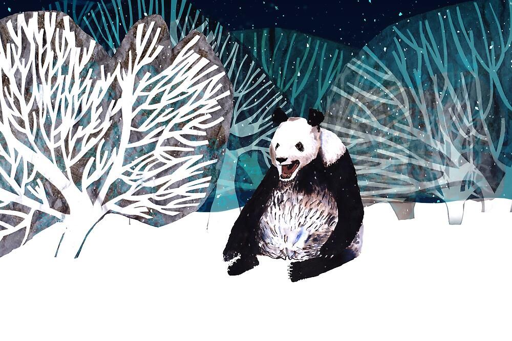 Panda bear in the snow by Susan Craig