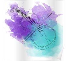 watercolor violin  Poster