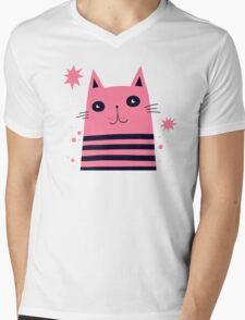 Dreaming Kitty Mens V-Neck T-Shirt