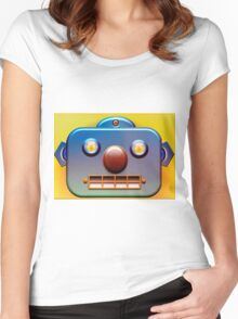 Blue Face Robot 2 Women's Fitted Scoop T-Shirt