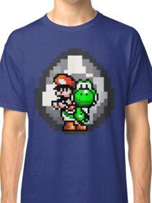 Mario & Yoshi with Egg Background Classic T-Shirt