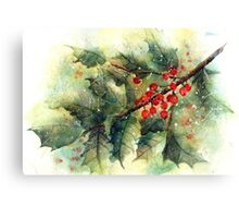 Holly In the Snow Canvas Print