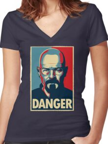 Danger  Women's Fitted V-Neck T-Shirt