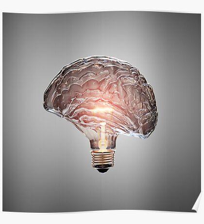 Light Bulb Brain Poster