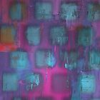 Urban Style Metal Blue Fluorescent Cubes on Purple by ibadishi