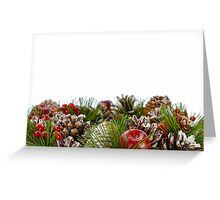 Christmas Decorative Wreath on White Background Greeting Card