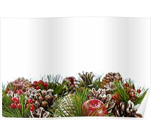 Christmas Decorative Wreath on White Background Poster