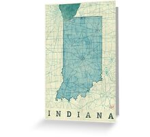 Indiana Map Blue Vintage Greeting Card