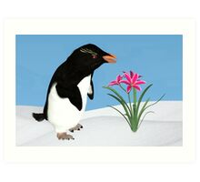 Humorous Penguin and Pink Flowers  Art Print