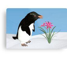 Humorous Penguin and Pink Flowers  Metal Print