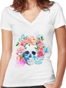 Skull flower art Women's Fitted V-Neck T-Shirt