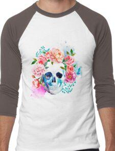 Skull flower art Men's Baseball ¾ T-Shirt