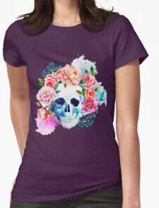 Skull flower art Womens Fitted T-Shirt