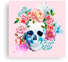 Skull flower art Canvas Print