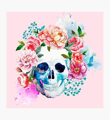 Skull flower art Photographic Print