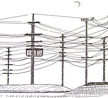 Power Lines and Moon by Christine Chase Cooper