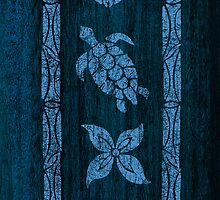 Samoan Tapa Faux Blue Koa Wood Surfboard  by DriveIndustries