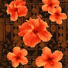 Kalalau Tapa Hawaiian Hibiscus Vintage Aloha Print - Orange on Brown by DriveIndustries