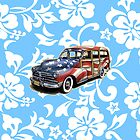 Freedom Cruisin' Patriotic Hawaiian Surf Woody - Sky Blue by DriveIndustries