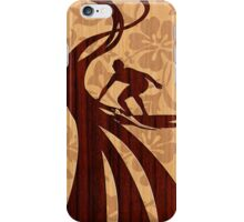 Faux Koa Wood Hawaiian Surfer  iPhone Case/Skin