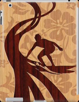 Faux Koa Wood Hawaiian Surfer  by DriveIndustries