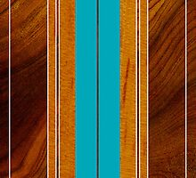 Nalu Mua Hawaiian Faux Koa Wood Surfboard - Teal by DriveIndustries
