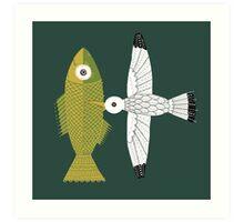 Big fish and seagull Art Print