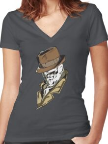 Rorschach bust Women's Fitted V-Neck T-Shirt