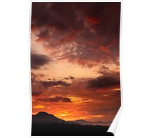 red sunrise print Poster