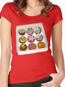 Christmas Cup Cakes Women's Fitted Scoop T-Shirt