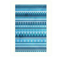 Blue Aztec Pattern Art Print