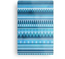 Blue Aztec Pattern Metal Print
