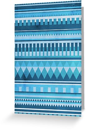 Blue Aztec Pattern by hannahison