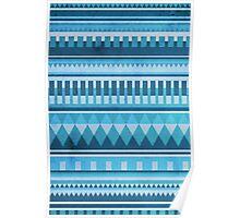 Blue Aztec Pattern Poster