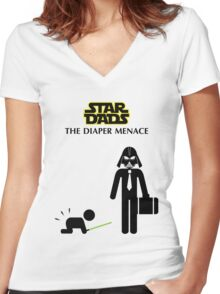 Star Dads - The Diaper Menace Women's Fitted V-Neck T-Shirt