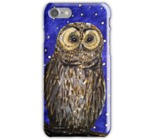 Hand drawn illustrative owl at night iPhone Case/Skin